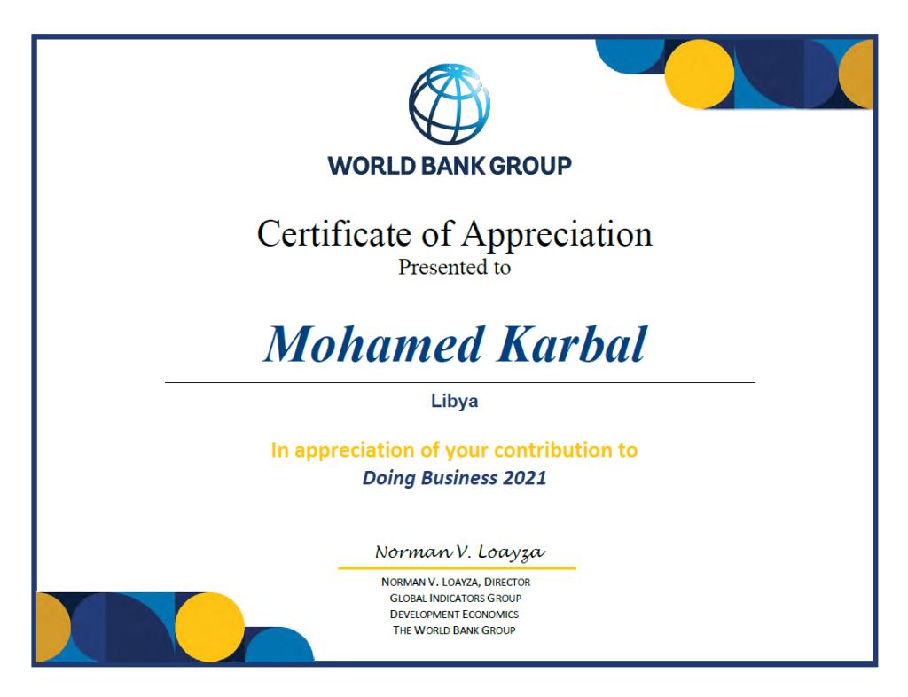 Doing Business world bank 2021 certificate